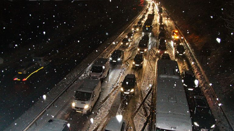 Tailbacks on the M3 as motorists battle the elements. Pic: David Coppin