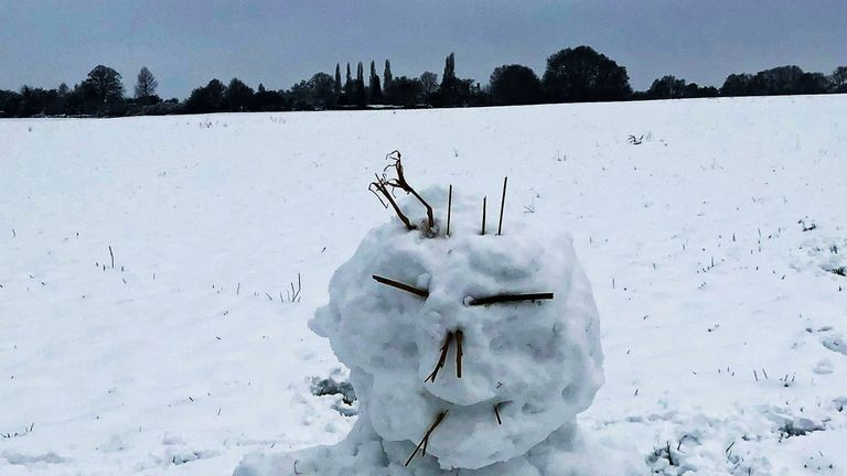 Snowmen are beginning to pop up around the country in the freezing conditions