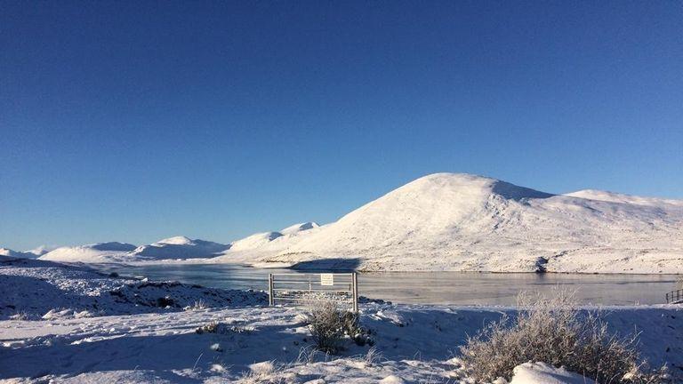 Snow in Ullapool, north Scotland, where temperatures dropped to -10C. Pic: Bridget Oeppen