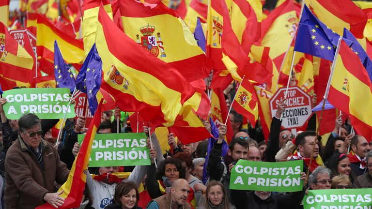 Protests organised by Spanish right-wingers over the government's policy on Catalonia