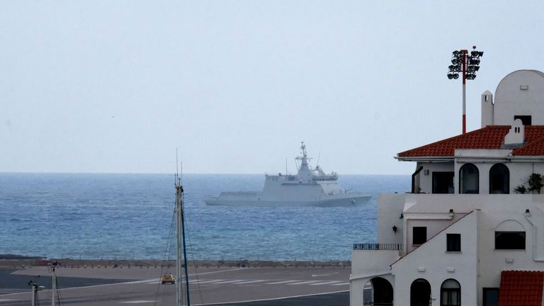 The navy vessel ordered commercial ships to leave British Gibraltar waters