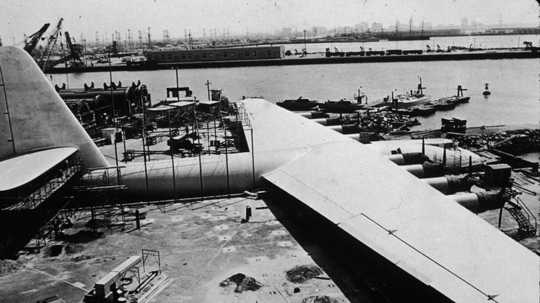 Exterior view of the Spruce Goose, a massive sea plane designed and built (out of wood) by American industrialist, aviator, and film producer Howard Hughes, Los Angeles, California, 1947.
