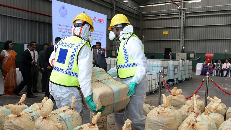 Sri Lankan police prepare to destroy seized cocaine
