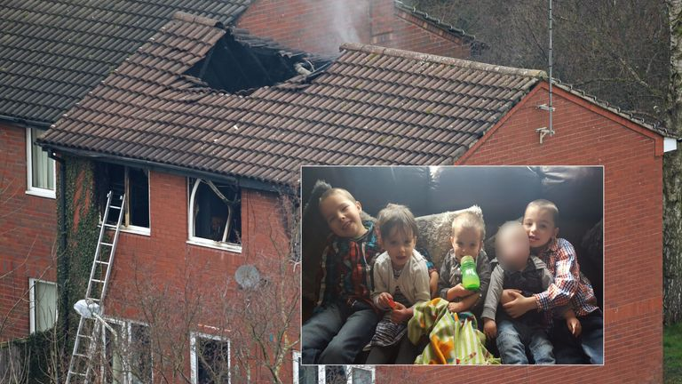 The scene of a house fire in Sycamore Lane, Stafford, which claimed the lives of four children.
