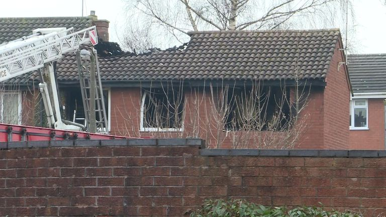 The scene of the fire in Stafford