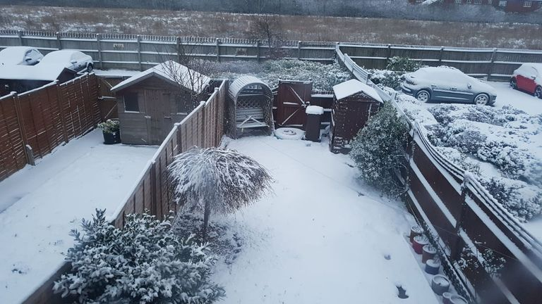 Gardens in Stevenage have been blanketed in snow