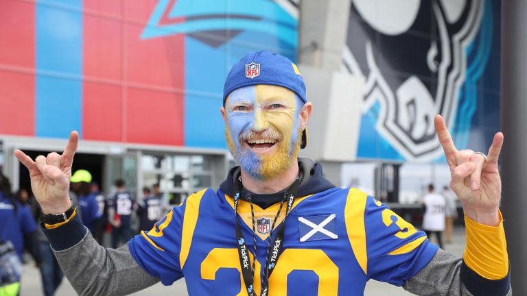 An LA Rams fan Chis Fellowes outside the Mercedes-Benz Stadium before Super Bowl LIII
