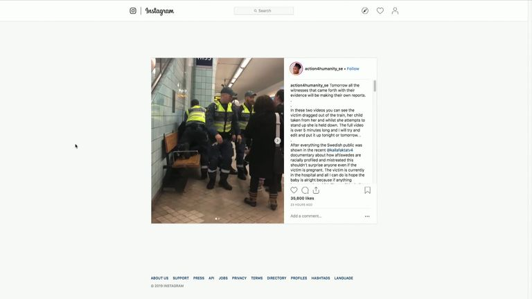 The woman was pinned to a bench after being removed from the train. Pic: Instagram
