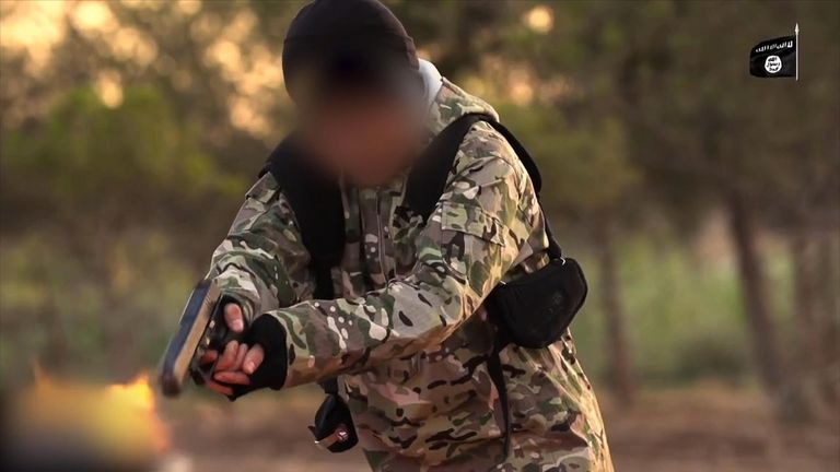 A still of an Islamic State propaganda video that shows the group training children