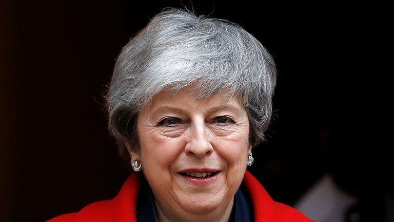Prime Minister Theresa May is seen outside of Downing Street