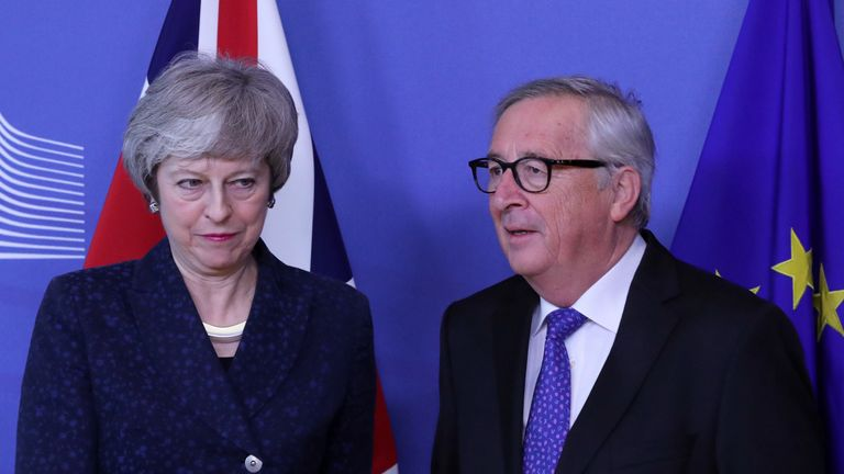 European Commission President Jean-Claude Juncker meets with Theresa May in Brussels