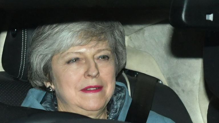Prime Minister Theresa May leaves the Houses of Parliament