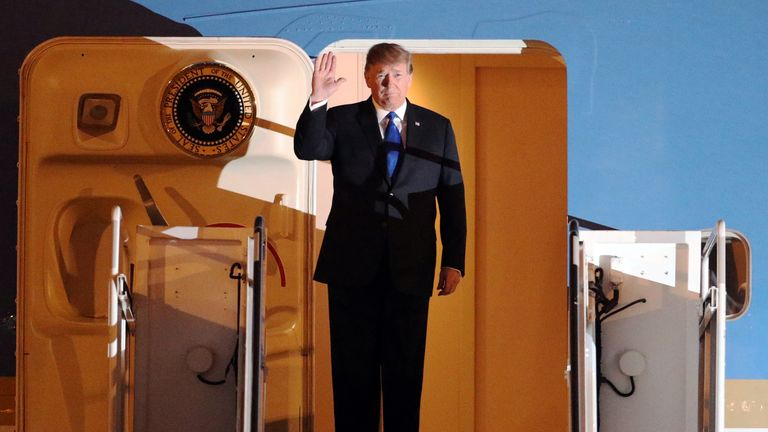 Donald Trump arrives at Noi Bai Airport for the US-DPRK summit in Hanoi