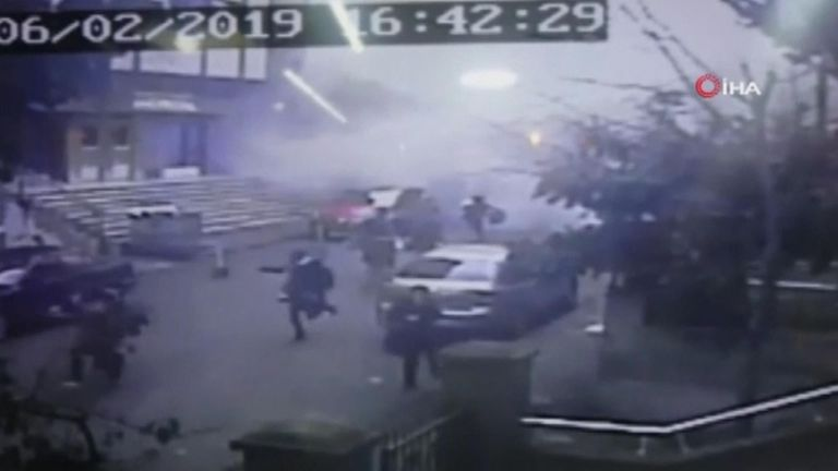 CCTV captures moment building collapses