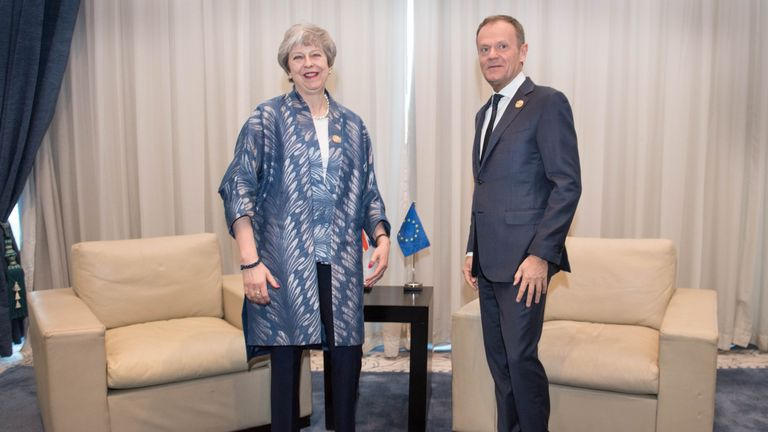 Theresa May meets with EU Council President Donald Tusk