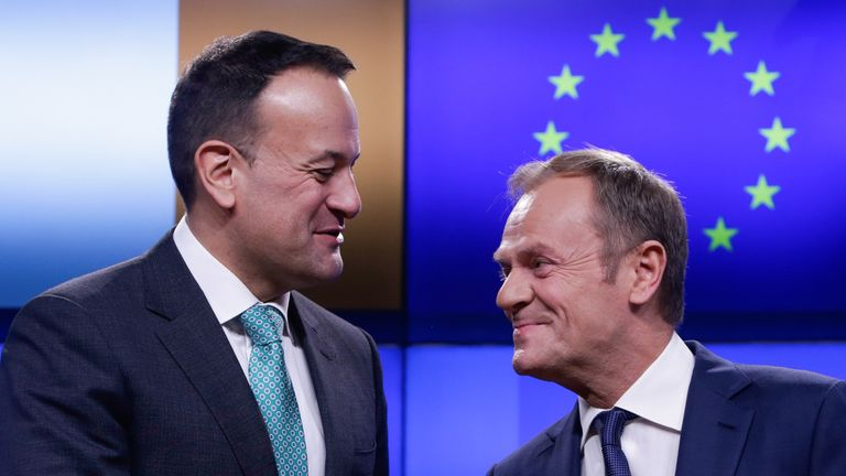 Ireland's Prime Minister Leo Varadkar (L) and European Council President Donald Tusk shake hands