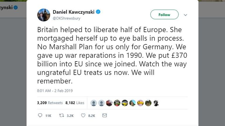 Daniel Kawcynski claimed Britain did not get anything from the Marshall Plan