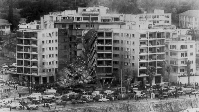 The US embassy in Beirut after a bomb destroyed part of the building killing dozens