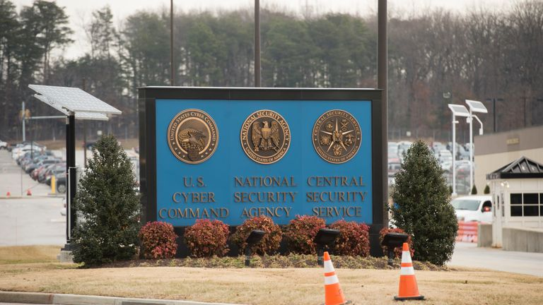 A sign for the National Security Agency (NSA), US Cyber Command and Central Security Service, is seen near the visitor's entrance to the headquarters of the National Security Agency (NSA) after a shooting incident at the entrance in Fort Meade, Maryland, February 14, 2018. Shots were fired early Wednesday at the ultra-secret National Security Agency, the US electronic spying agency outside Washington, leaving one person injured, officials said. Aerial footage of the scene from NBC News showed a