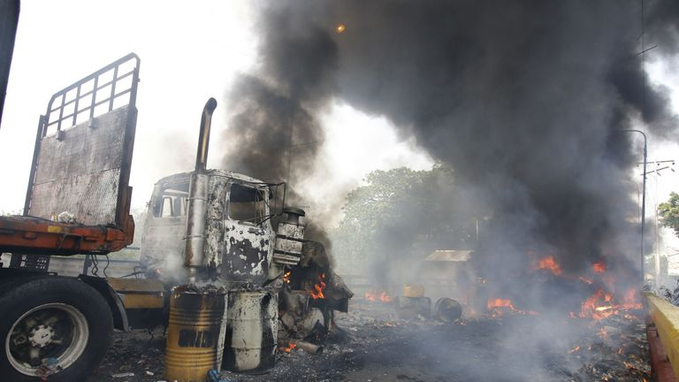 One of the aid trucks was set alight - reportedly by National Guardsmen