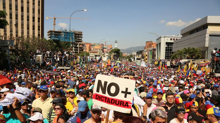 Protesters filled the streets of Caracas to show opposition to the government