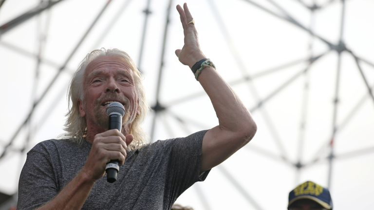 Richard Branson addresses crowds at the concert