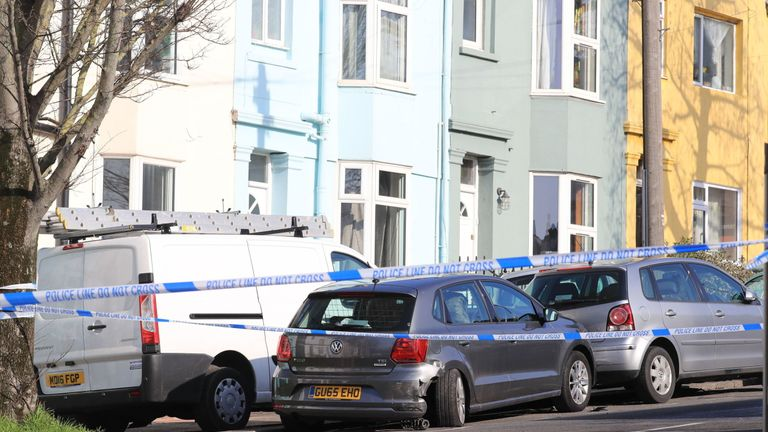 Police tape surrounds the VW Polo in which Abdul Deghayes was found injured