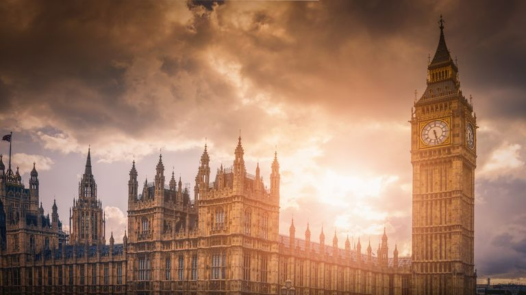 Big Ben and Westminster Palace at sunset in London, UK