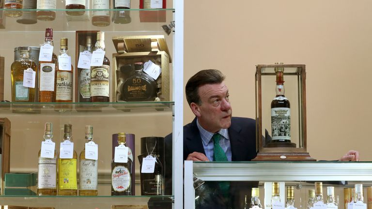 Bonham's whiskey expert Martin Green with a bottle of the Macallan whiskey going under the hammer in March.