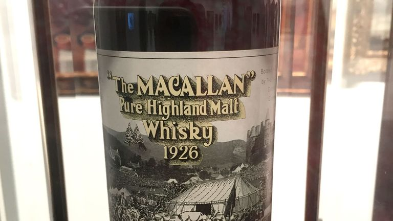 A bottle of 1926 Macallan whiskey, with a label designed by Sir Peter Blake. Pic: Thomas Urbain