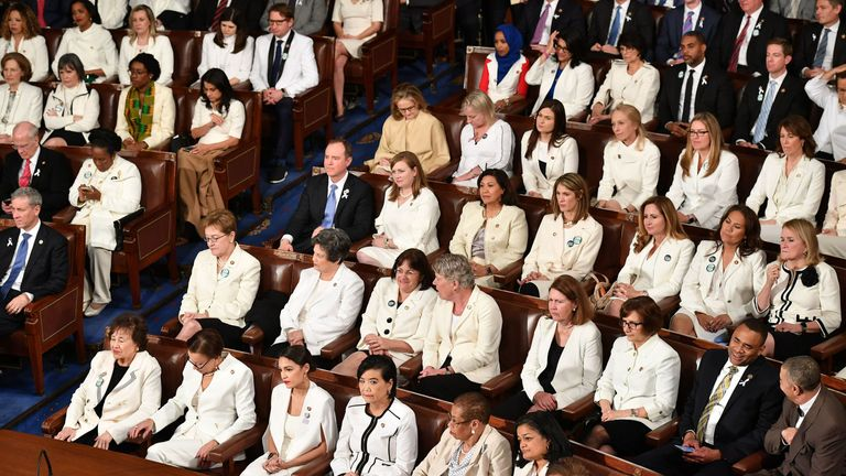 Female Democrat politicians wore white outfits in honour of the suffragettes