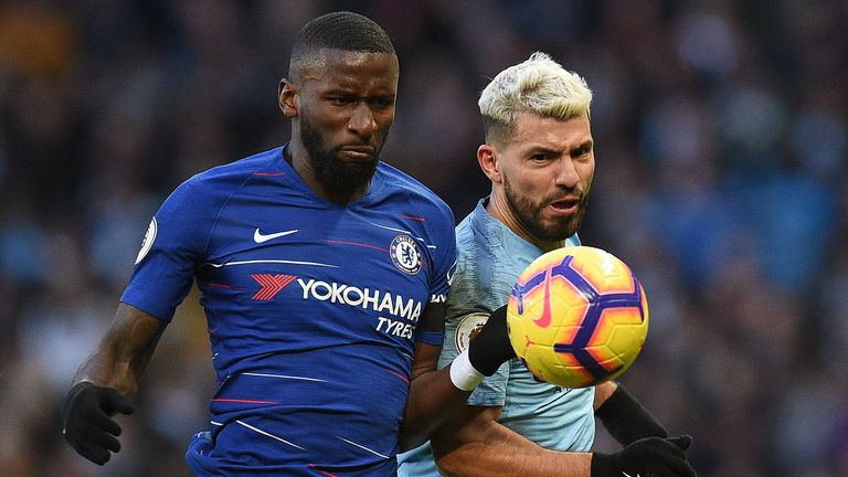 Antonio Rudiger battles for possession with Sergio Aguero at the Etihad Stadium