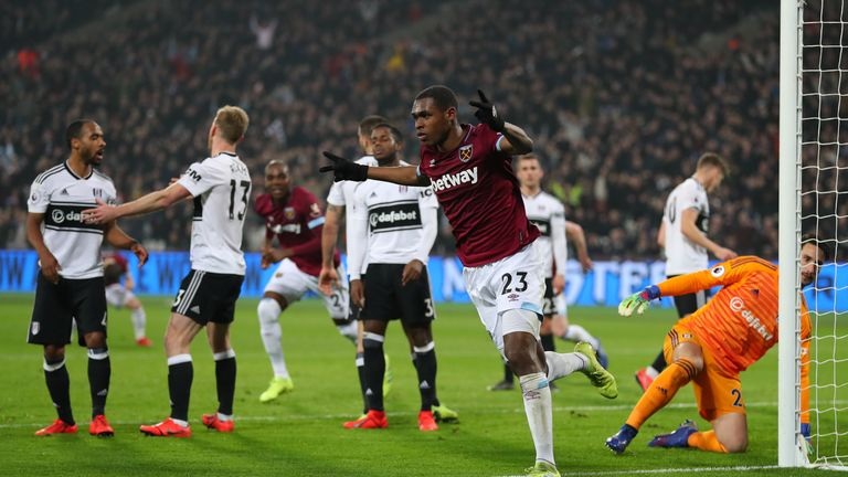 Issa Diop of West Ham United celebrates scoring his side's second goal during the Premier League match between West Ham United and Fulham FC at the London Stadium on February 22, 2019 in London, United Kingdom