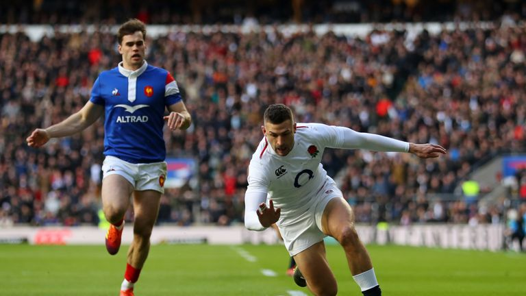 during the Guinness Six Nations match between England and France at Twickenham Stadium on February 10, 2019 in London, England.