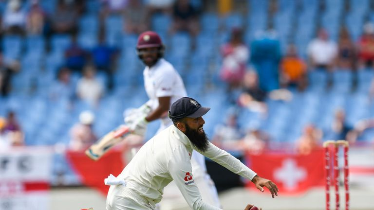 Moeen Ali took a spectacular catch to dismiss John Campbell in the third Test between Windies and England in St Lucia.