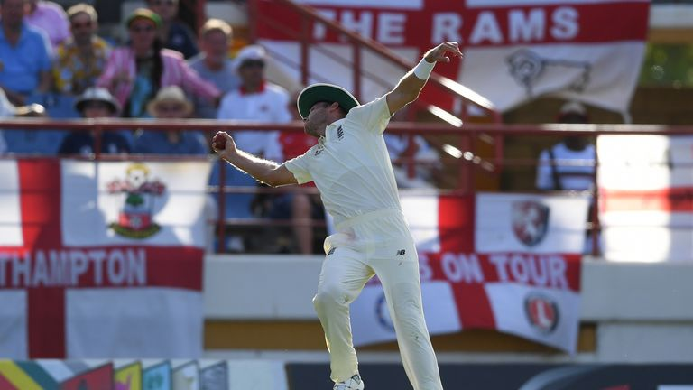 Stuart Broad took an exceptional one-handed catch over his shoulder to dismiss Alzarri Joseph on day two of the third Test in St Lucia