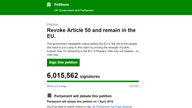 Brexit petition to revoke Article 50 and remain in the EU passes six million signatures
