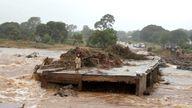 A washed away bridge along Umvumvu river following Cyclone Idai in Chimanimani, Zimbabwe