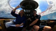 Returning to sea-level: Sky's Anna Botting surfaces in a submarine after broadcasting from the depths of the Indian Ocean