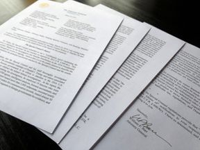 U.S. Attorney General William Barr's signature is seen at the end of his four page letter to U.S. congressional leaders on the conclusions of Special Counsel Robert Mueller's report