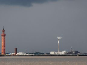 The entrance to Grimsby Docks, near where the body was found