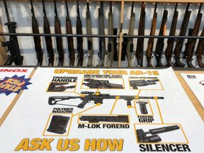 A view of the Gun City shop in Christchurch - many of these weapons will now be illegal