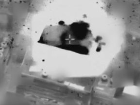 An IDF video shows an airstrike on the Hamas headquarters in Tzabra