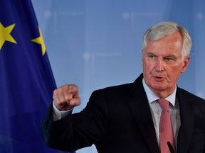 Downing Street has said Geoffrey Cox had a 'robust exchange of views' with Mr Barnier, pictured