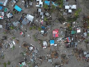 An aerial shot shows the destruction in Beira, Mozambique, after Cyclone Idai