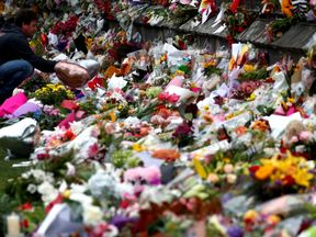 A man lays flowers for victims of the terror attacks at a memorial in Christchurch