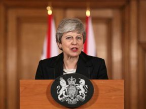 Theresa May makes a statement about Brexit in Downing Street