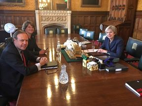 Theresa May meets with the DUP's Arlene Foster and Nigel Dodds