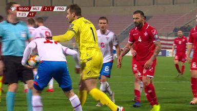 Players clash in Malta vs Faroe Islands