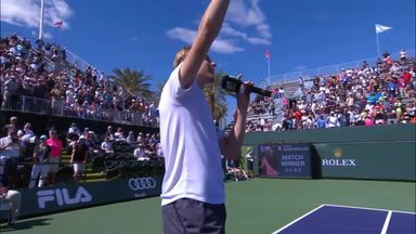 Shapovalov attempts a post-match rap!